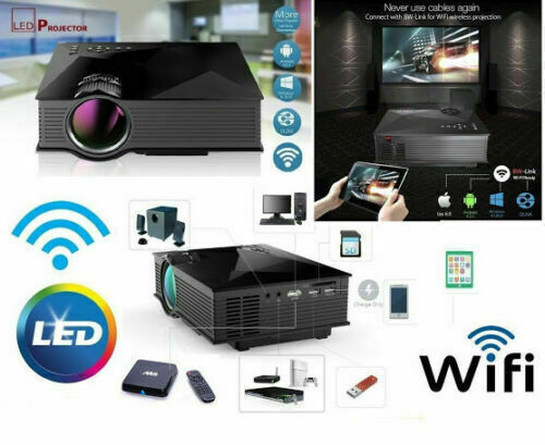 PROIETTORE LED WIFI FULL HD 1200 LUMEN MIRACAST DLNA AIRPLAY HDMI USB VGA TV 3D