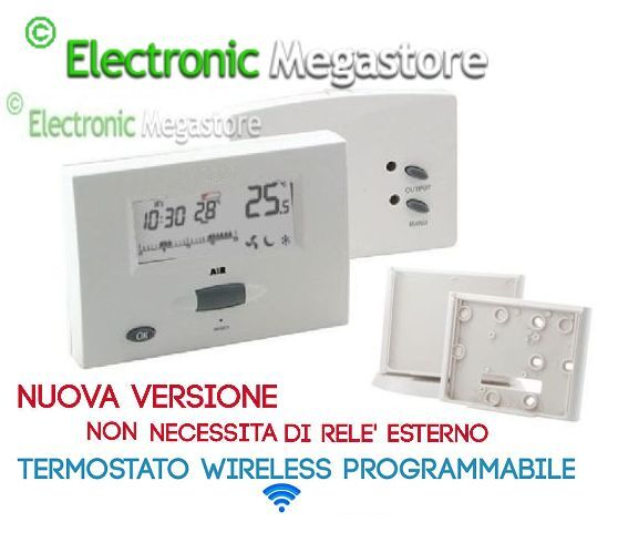TERMOSTATO AMBIENTE CALDAIA RISCALDAMENTO wireless senza fili viaradio on air