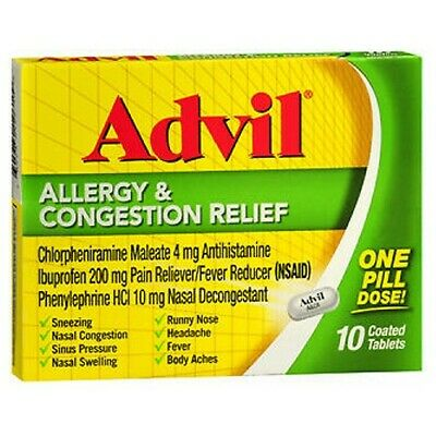 Advil Allergia Congestione Sollievo Rivestito Compresse 10 Pillole