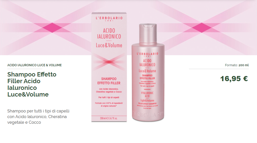 L'Erbolario Shampoo Effetto Filler Acido Ialuronico Luce & Volume 200 ml