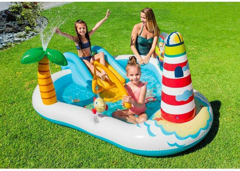 Intex Piscina Gonfiabile Bambini Con Scivolo cm 218x188x99 57162 Fishing Fun
