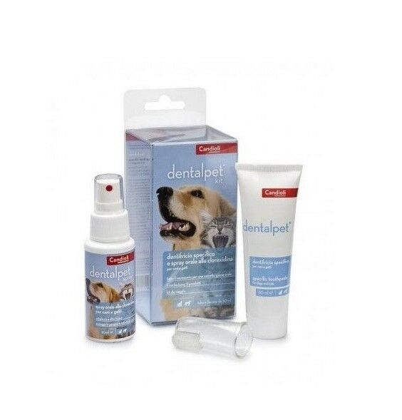 Kit CANDIOLI Dentifricio Collutorio Spray Ditale per Pulizia denti Cani e Gatti