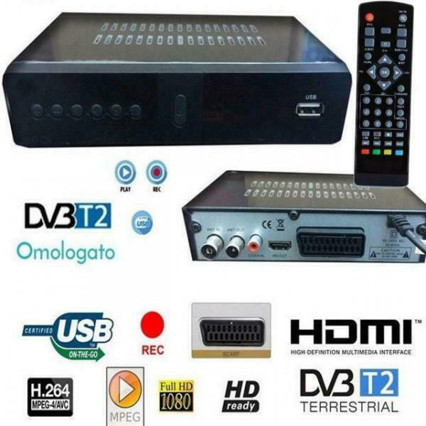 DECODER RICEVITORE DIGITALE TERRESTRE HDMI SCART 1080P TV DVB-T2 USB NO AC3 HD
