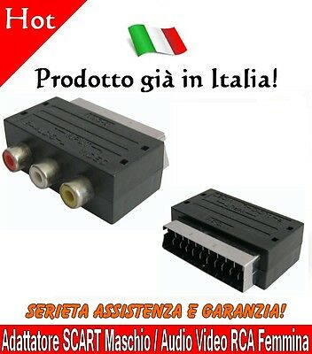 ★ Adattatore SCART Maschio / Audio Video RCA Femmina Convertitore Presa TV DVD ★