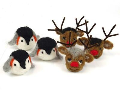 Penguin and Reindeer Christmas Baubles Needle Felt Pack by The Makerss - Makes 6