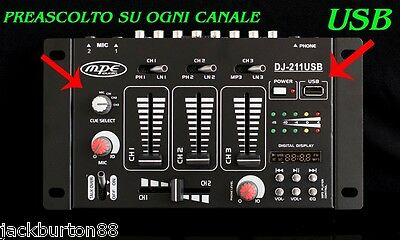 CONSOLE MIXER AUDIO DJ PASSIVO 3 CANALI USB DISPLAY MP3 PREASCOLTO MPE AUDIO