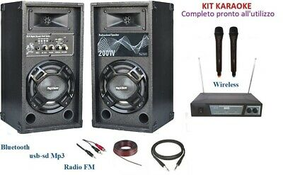 IMPIANTO AUDIO KARAOKE CASSE ATTIVE MIXER BLUETOOTH USB MP3 + MICROFONI WIRELESS
